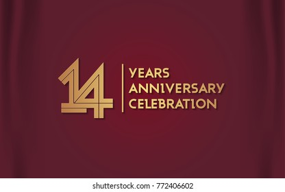 14 Years Anniversary Logotype with  Golden Multi Linear Number Isolated on Red Curtain Background