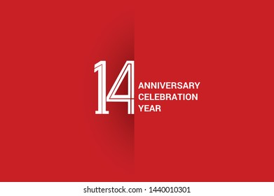 14 years anniversary, minimalist logo jubilee, greeting card. Birthday invitation. White space vector illustration on Red background - Vector