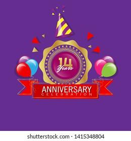 14 years anniversary - modern design celebrating. 4 years anniversary celebration simple logo. ribbon,balloon, gold emblem