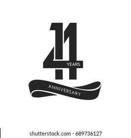 14 years anniversary pictogram vector icon, 14 years birthday logo label, black and white stamp isolated