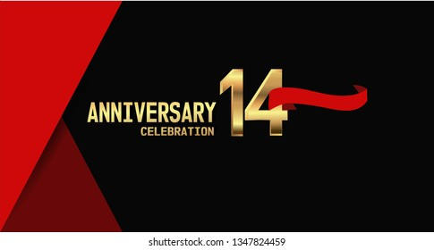 14 years Anniversary simple design with golden font and red ribbon, black and red background. elegant and simple design