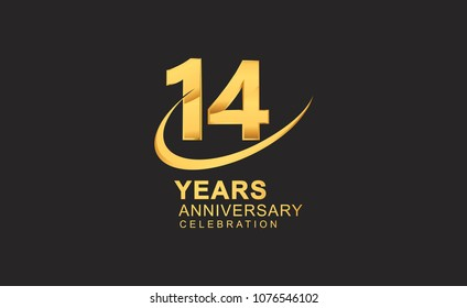 14 years anniversary with swoosh design golden color isolated on black background for celebration