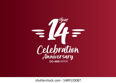 14 years anniversary white colors on red color with triple small stripes on left and right for anniversary, wedding, logo - vector