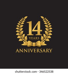 14 years anniversary wreath ribbon logo black background