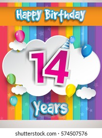 14 Years Birthday Celebration With Balloons And Clouds Colorful Vector Design For Invitation Card