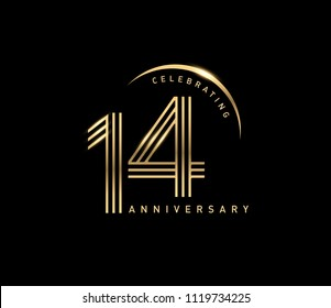 14 years gold anniversary celebration simple logo, isolated on dark background. celebrating Anniversary logo with ring and elegance golden color vector design for celebration,