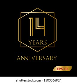 14 years gold anniversary celebration simple logo, isolated on dark background