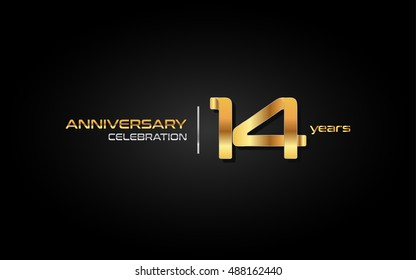 14 years gold anniversary celebration logo, isolated on dark background