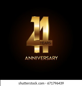 14 years gold anniversary celebration overlapping number logo, isolated on dark background