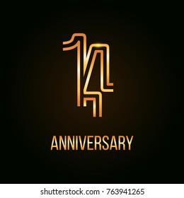 14 Years Golden Anniversary Design using multi liner number