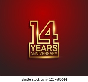 14 years golden anniversary line style isolated on red background for celebration