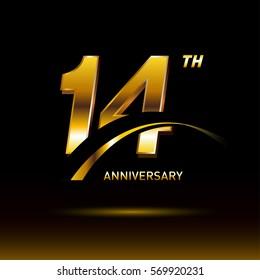 14 years golden anniversary logo celebration
