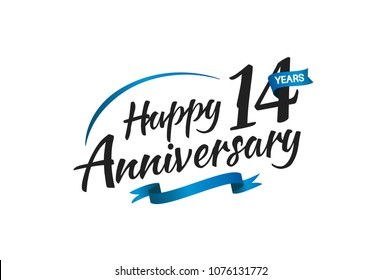 14 years happy anniversary celebration with blue swoosh and blue ribbon isolated on white background