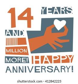 14 Years Happy Anniversary (Vector Illustration Concept Design)