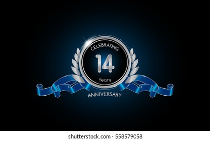 14 years silver anniversary celebration logo with red ribbon , isolated on dark background