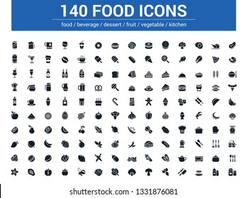 140 food line icons set. Vector illustration on white background