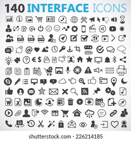 140 hand drawn vector interface icons