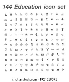 144 Education icon set Vector