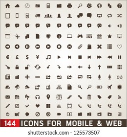 144  Icons For Web and Mobile on grey background. Graphic Design Editable For Your Design.