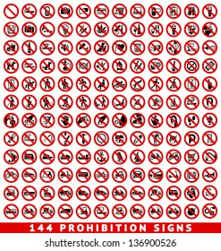 144 Prohibition signs, set vector illustration