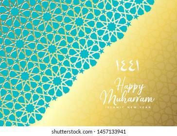 1441 hijri islamic new year. Happy Muharram. Muslim community festival Eid al ul Adha Mubarak greeting card with 3d paper flower, star, moon. Template for menu, invitation, poster, banner, card.