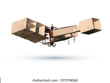 14-BIS Vintage Brazilian Airplane Vector Illustration