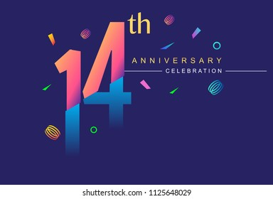 14th anniversary celebration with colorful design, modern style with ribbon and colorful confetti isolated on dark background, for birthday celebration