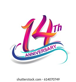14th anniversary celebration logotype blue and red colored. fourteen years birthday logo on white background.