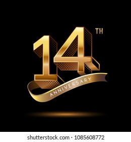 14th Anniversary celebration logotype colored with shiny gold, using ribbon and isolated on black background