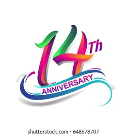 14th anniversary celebration logotype green and red colored. fourteen years birthday logo on white background.