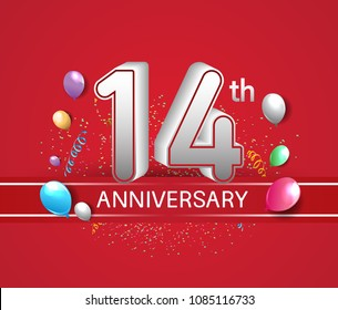 14th anniversary design red background with balloons and confetti for company celebration event