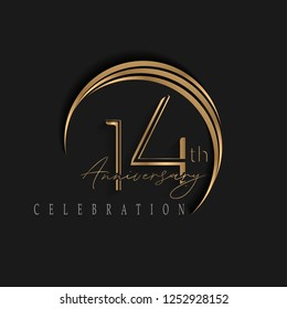 14th anniversary, design templates vector and illustrations with golden color and dark background