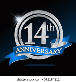 14th anniversary logo with blue ribbon and silver ring, vector template for birthday celebration.