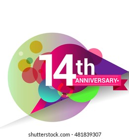 14th Anniversary logo, Colorful geometric background vector design template elements for your birthday celebration.