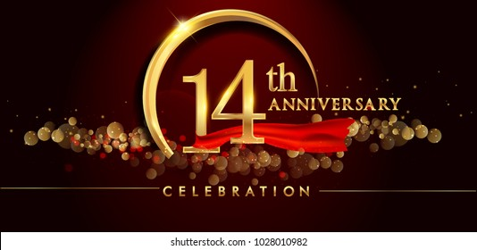14th anniversary logo with golden ring, confetti and red ribbon isolated on elegant black background, sparkle, vector design for greeting card and invitation card
