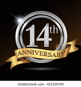 14th anniversary logo, with shiny silver ring and gold ribbon isolated on black background. vector design for birthday celebration.