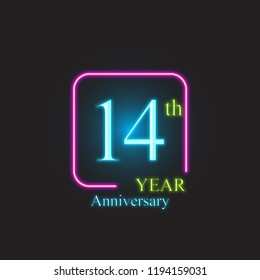 14th anniversary number neon text