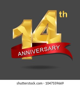 14th anniversary years celebration logotype. Logo gold numbers and ribbon gray background.