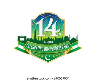 14th August Celebrating Independence Day Logo, Typographic emblems & badge with grey background, Vector illustration