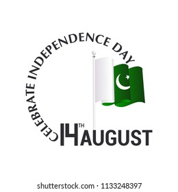14th august, Independence day of pakistan,  Vector typographic b