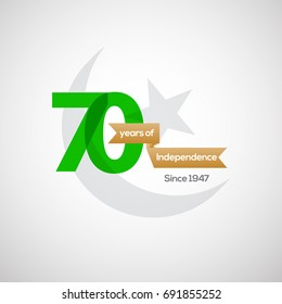 14th of August . Pakistan 70th Independence Day Vector Label/banner