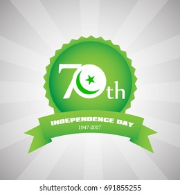 14th of August . Pakistan 70th Independence Day Vector Label/badge