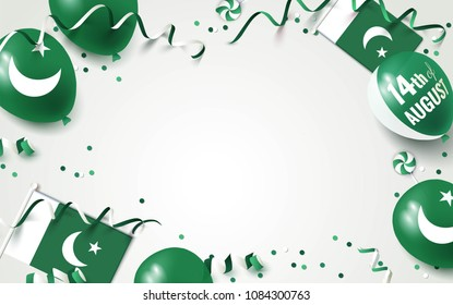 14th of August. Pakistan independence day celebration background with balloons, flag and confetti. Festive border flat lay. Vector illustration