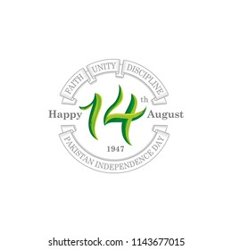 14th August pakistan independence day Logo, Typographic emblems & badge with white background, Vector illustration