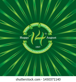 14th August pakistan independence day Logo, Typographic emblems & badge with dark green background, Vector illustration