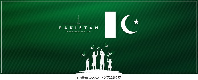 14th of august pakistan independence day celebration card, Happy Pakistan's independence day 14th of august 1947. flag of pakistan brush design Vector Illustration