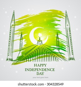 14th August. Pakistan Independence Day. mosque monument Celebration Background. Vector Illustration