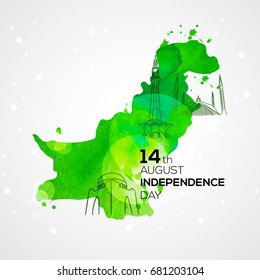 14th august . Pakistan Independence Day Background with famous landmarks