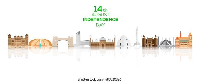 14th of August Pakistan Independence Day background with famous landmarks of Pakistan.