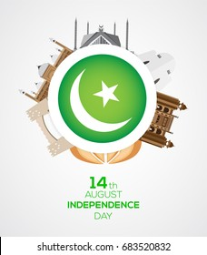 14th of August Pakistan Independence Day with famous landmarks.